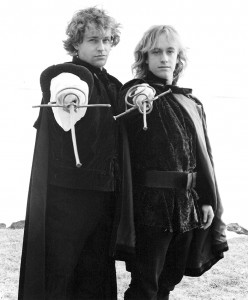 Peter van Gestel and Jeremy Smith in 'Hamlet', 1995 (yes, the hair was flowing).